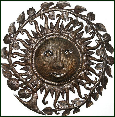 Metal Sun Wall Hanging, Sun Metal Wall Art, Haitian Steel Drum Metal Art, Metal Wall Sculpture - 34""
