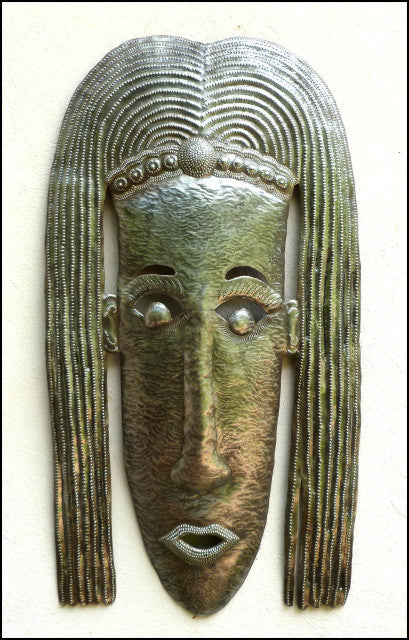 Ethnic Mask Wall Hanging  - Haitian Steel Drum Metal Art - African Mask Wall Decor - 24""