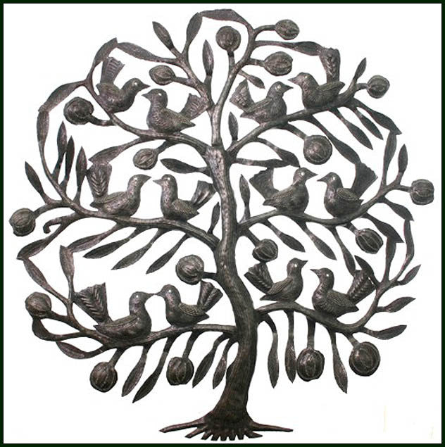 Metal Wall Hanging, Tree & Birds, Haitian Metal Art, Haitian Steel Drum Art, Wall Decor - 24""