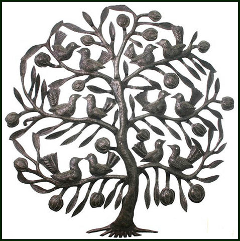 Metal Wall Hanging - Tree & Birds - Handcrafted Haitian Steel Drum Wall Decor - 24""