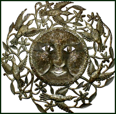 Metal Sun Wall Hanging, Haitian Steel Drum Metal Art, Wall Art, Outdoor Garden Decor. 34""