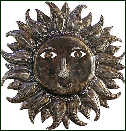 Metal Sun Wall Hanging - Haitian Steel Drum Metal Wall Decor - Tropical Decor - 24""