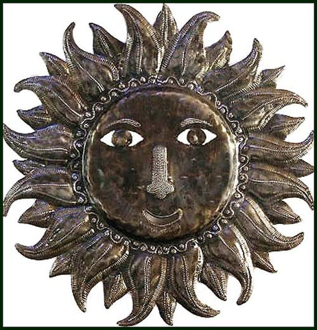 Metal Sun Wall Hanging, Haitian Steel Drum Metal Wall Decor, Tropical Decor, Haitian Metal Art - 24""