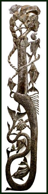 "Haitian Mermaid Metal Art Wall Hanging - Metal Wall Art - Steel Drum Metal Art - 5"" x 24"""