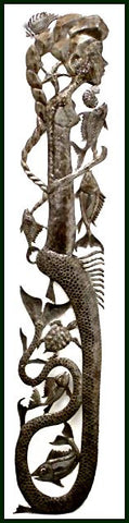 "Haitian Metal Art, Mermaid Wall Hanging, Metal Wall Art, Recycled Steel Drum Metal Art of Haiti - 5"" x 24"""