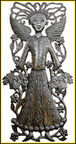 "Metal Wall Hanging - Haitian Angel Steel Garden Decor - Steel Drum Art - 17"" x 34"""
