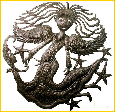 Angel Metal Art - Haitian Steel Drum Wall Hanging - Decorative Metal Wall Hanging - 24""