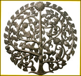 Handcrafted Haitian Steel Drum Metal Wall Art - Round Birds & Tree Wall Decor - 34""