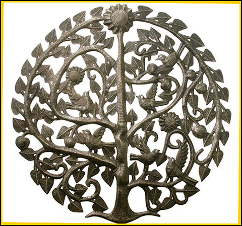 Handcrafted Haitian Steel Drum Art,  Metal Wall Art, Birds & Tree Wall Decor, Haitian Art - 34""