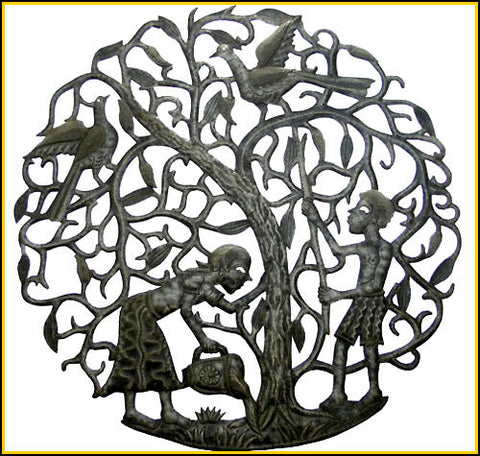 Haitian Metal Art - Peasants and Tree Metal Wall Decor - Recycled Steel Drum Metal Art - 30""