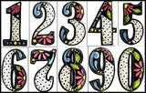 "House Number - Hand Painted Metal - Black & White - Decorative Address Numbers - 7 1/2"" x 4 1/2"""