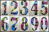 "Address Number - Decorative House Numbers - Hand Painted Metal - Black Background  - 4 1/2"" x 2 1/2"""