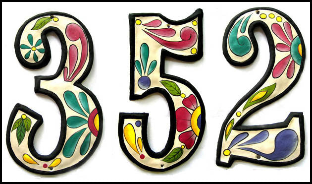 "Metal Address Number - Hand Painted House Number - White Background - 4 1/2"" x 2 1/2"""