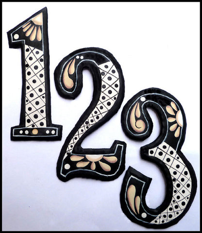 Address Number - Hand Painted Metal Decorative House Numbers - 7 1/2""