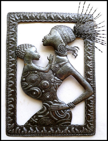 Haitian Metal Art, Ethnic African Wall Hanging, Haitian Steel Drum Art - 34""