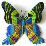 Butterfly Wall Hanging - Hand Painted Metal Home Decor - Outdoor Garden Tropical Decor -14""