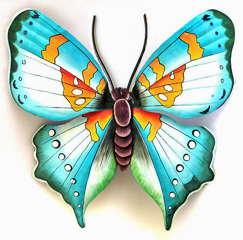 "Butterfly Metal Art Wall Hanging - Painted Metal Outdoor Garden Decor - Home Decor - 18"" x 21"""