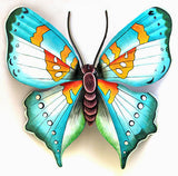 "Butterfly Metal Art Wall Hanging - Hand Painted Metal Outdoor Garden Decor - Home Decor - 18"" x 21"""