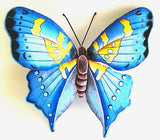"Painted Metal Butterfly Wall Hanging - Outdoor Garden Metal Art - Tropical Decor - 18"" x 21"""