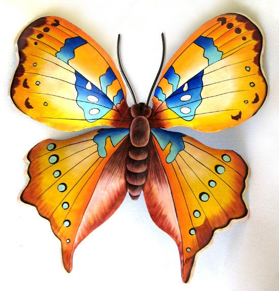 "Hand Painted Metal Butterfly Wall Decor - Large Garden Wall Art - Tropical Decor, 29"" x 34"""