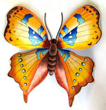 "Butterfly Metal Art Wall Hanging - Tropical Home Decor - Hand Painted Steel Drum - 18"" x 21"""