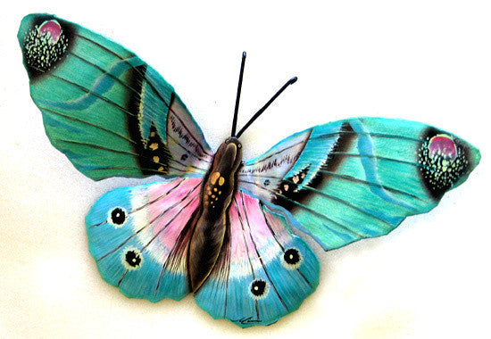"Butterfly Metal Wall Hanging - Painted Metal Art Butterflies, Outdoor Garden Decor - 12"" x 22"""