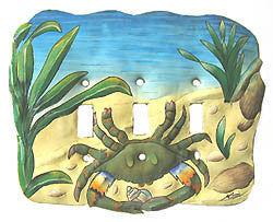 Switchplate - Hand Painted Metal Blue Crab Light Switch Cover - 3 Holes