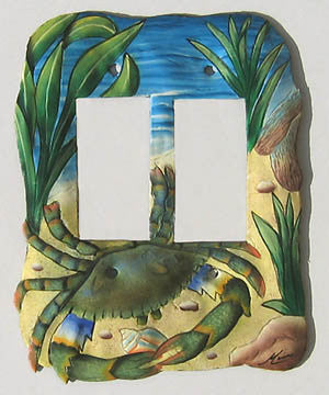 Switchplate - Painted Metal Light Switch Plate Cover - Blue Crab Design - Rocker Style - 2 Holes