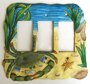 Painted Metal Rocker Switchplate Cover - Blue Crab Switch Plate Design - 3 Holes