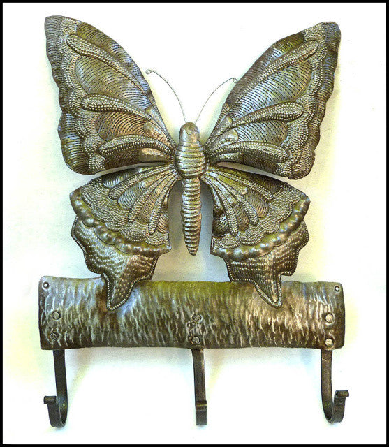 Metal Butterfly Wall Hook, Key Holder, Metal Towel Hook, Decorative Metal Hook, Haitian Steel Drum Metal Art - 12""