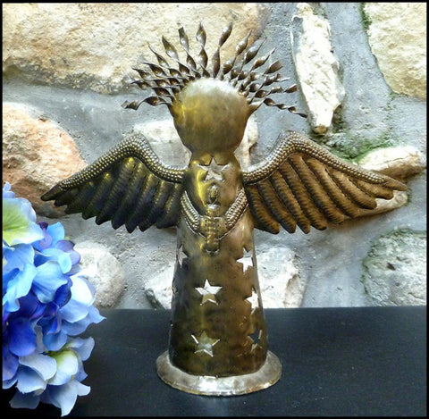 Angel Metal Candle Holder, Haitian Art, Recycled Steel Drum Art - 9 1/2""