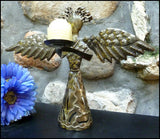 Metal Candle Holder - Angel Design - Handcrafted from Recycled Steel Drums in Haiti - 12""