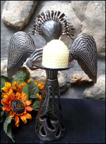 Metal Candle Holder - Angel Design - Christmas Decor - Steel Drum Haitian Art - 12""