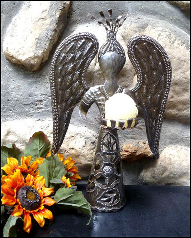 Angel Candle Holder - Handcrafted Metal Steel Drum Decorative Design - 14""
