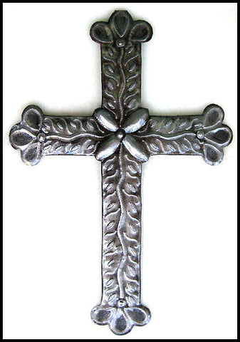 Metal Cross Wall Hanging - Christian Art - Handcrafted Metal Wall Art - Haitian Steel Drum Art - 19""