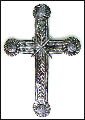 Metal Cross Wall Hanging - Christian Gift - Religious Wall Decor - Haitian Steel Drum Art - 12""
