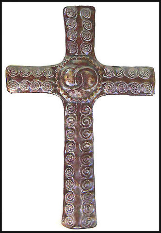 "Metal Cross Wall Hanging - Christian Design - Handcrafted Haitian Metal Art - 12 1/2"" x 18 1/2"""