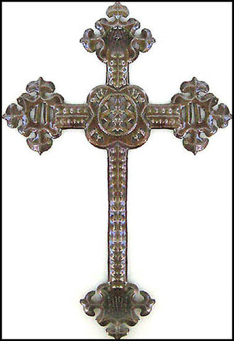 "Metal Cross Wall Hanging, Christian Design, Haitian Metal Art, Recycled Steel Drum Art - 12"" x 18"""