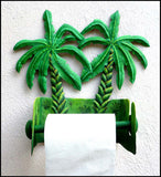 Toilet Paper Holder - Bathroom Decor -Hand Painted Metal Banana Tree Design - Towel Holder