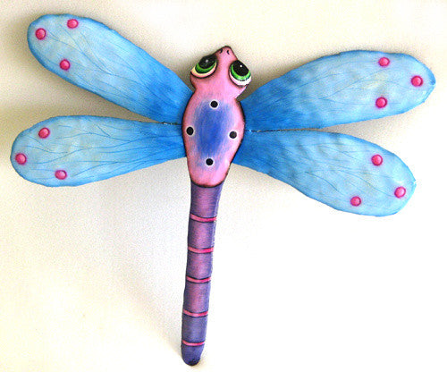 Dragonfly Wall Hanging - Tropical Home Decor - Painted Metal Garden Decor - 17 1/2""