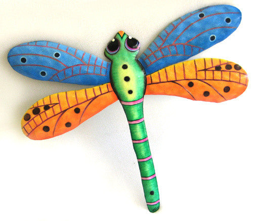 Dragonfly Painted Metal Wall Hanging - Outdoor Garden Art - Tropical Decor - 17 1/2""