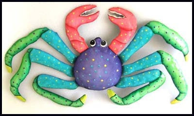 "Hand Painted Metal Crab Wall Decor - Outdoor Garden Metal Art - Tropical Design - 13"" x 22"""
