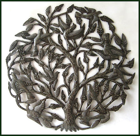 Metal Wall Hanging, Birds in Tree , Haitian Metal Art, Recycled Haitian Steel Drum, Metal Birds 34""