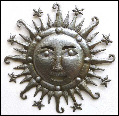 Metal Sun Wall Hanging, Haitian Recycled Steel Drum Metal Art, Metal Sun Art, Metal Art of Haiti,  24""