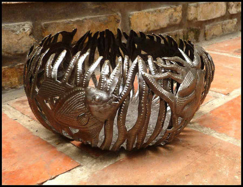 Metal Basket, Haitian Metal Art, Fish & Seaweed Design, Candle Holder, Haitian Steel Drum - 11""