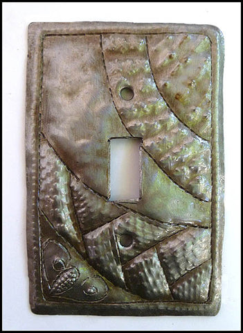 Metal Switchplate Cover, Hammered Metal, Switch Plate Cover, Haitian Handcrafted Recycled Steel Drums - Single