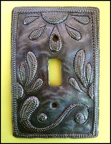 Metal Switchplate Cover, Sunflower Design, Haitian Steel Drum Art, Single Switch Plate