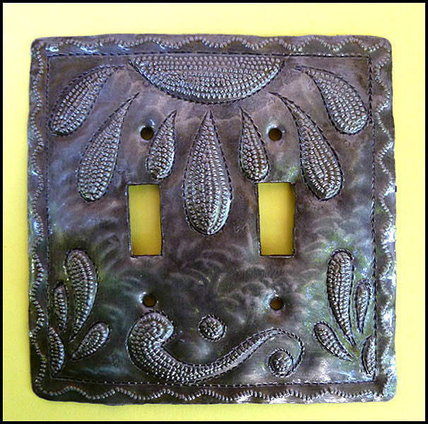 Metal Light Switchplate Cover - Haitian Recycled Steel Drum - Switch Plate, Double