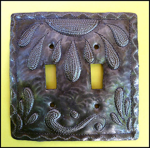 Metal Light Switchplate Cover, Haitian Art,  Switch Plate, Haitian Recycled Steel Drum - Double