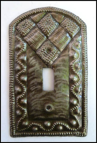 Metal Light Switch Plate Cover, Switchplate Cover, Recycled Steel Drum from Haiti, Single Light Switch
